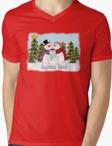 Snowman Family Joyeux Noel Christmas Card T-Shirt