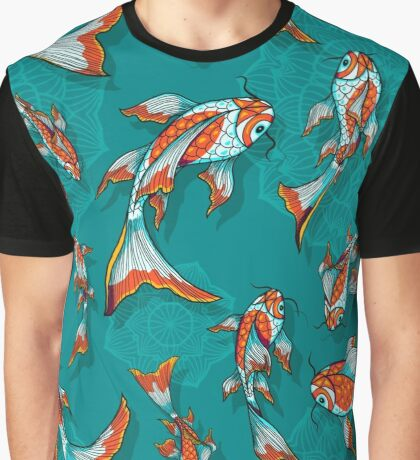 Background image with hand drawn koi fishes and lotus flowers Graphic T-Shirt