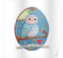 Colorful cute Little christmas forest owl Poster