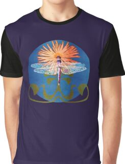 Dragonfly Flower Graphic T-Shirt