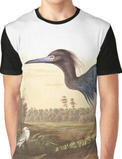 Little Blue Heron - John James Audubon Graphic T-Shirt