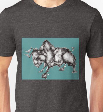 Origami Bull: Teal Unisex T-Shirt