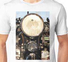 Abstract photograph of Classic vintage Singer motorbike head lamp, home decor, gifts and greetings cards. Unisex T-Shirt