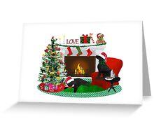 Night Before Christmas- Preppy Black Labs Greeting Card