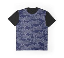 White fish on a blue background. Ethnic Graphic T-Shirt
