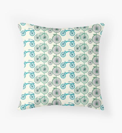 bicycle pattern Throw Pillow