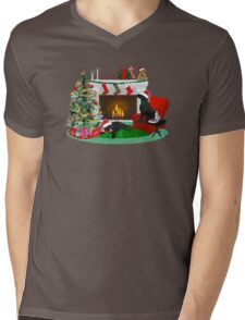 Night Before Christmas- Preppy Black Labs Mens V-Neck T-Shirt