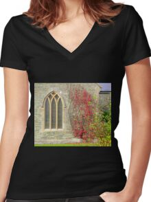 Church Window With Virginia Creeper Women's Fitted V-Neck T-Shirt