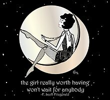Gatsby Girl swinging on the Moon with F Scott Fitzgerald Quote by CecelyBloom