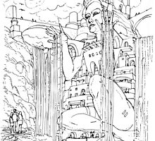 La Citta' sulla Cascata by Luca Massone  disegni