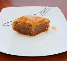 Baklava on White Plate by jojobob