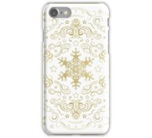 Ornate Snowflake Pattern - White and Gold 2 iPhone Case/Skin