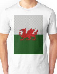 UK United Kingdom Great Britain Wales Welsh Flag on Carbon Fiber Background  Unisex T-Shirt