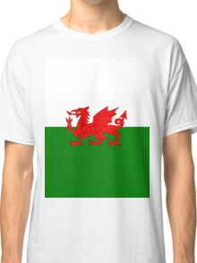 UK United Kingdom Great Britain Wales Welsh Flag Green and White with Red Dragon Classic T-Shirt