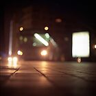 Urban landscape and bus at night Hasselblad analog medium format c41 film photo by edwardolive