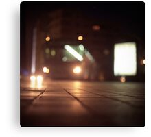 Urban landscape and bus at night Hasselblad analog medium format c41 film photo Canvas Print