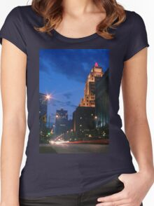 Downtown Milwaukee at Dusk Women's Fitted Scoop T-Shirt
