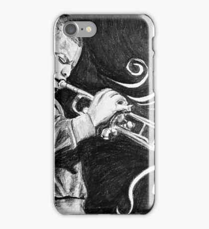 Trumpet Player Drawing iPhone Case/Skin