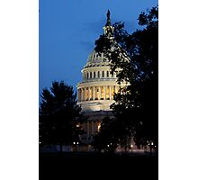 Sun Setting on Capitol Building Photographic Print