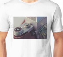 Abstract view of  Praktica Vintage 35mm camera, showing the lens, ISO, fstops and body Unisex T-Shirt
