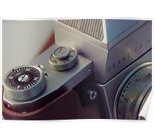 Abstract view of  Praktica Vintage 35mm camera, showing the lens, ISO, fstops and body Poster