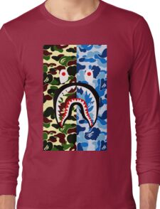 shark bape army blue tshirt Long Sleeve T-Shirt