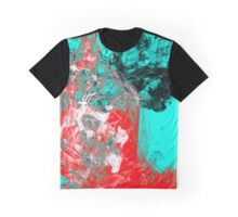Paint Collision - Red, black, white and cyan marbled paint Graphic T-Shirt