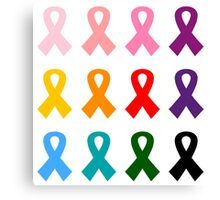 New! Sustainable design with ribbons with anti-cancer message Canvas Print
