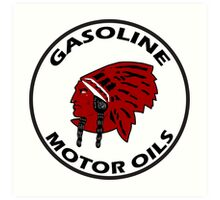 Red Indian Gasoline vintage sign reproduction Art Print