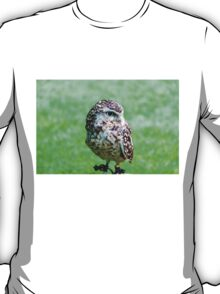 Close up portrait of little Owl against green background T-Shirt