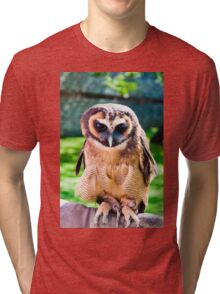 Close up portrait of brown wood Owl against green background Tri-blend T-Shirt
