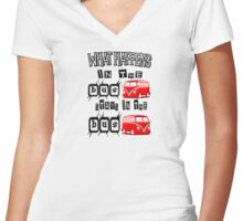 What happens in the VW BUS stays. RED version Women's Fitted V-Neck T-Shirt