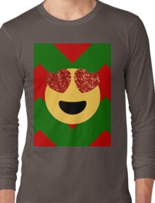 christmas heart eye emoji  Long Sleeve T-Shirt