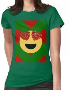 christmas heart eye emoji  Womens Fitted T-Shirt