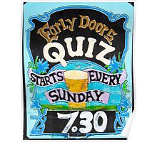 Close up on colorful British pub quiz sign Poster