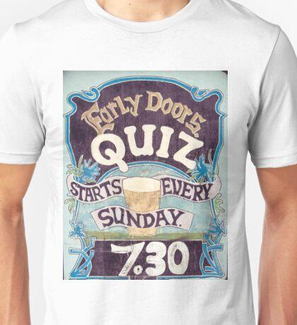 Close up on colorful British pub quiz sign Unisex T-Shirt