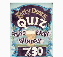 Close up on colorful British pub quiz sign Unisex T-Shirt