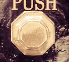 Detail of old vintage knob and push sign in UK by Stanciuc