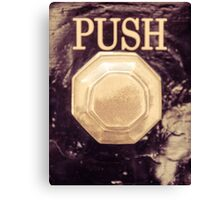 Detail of old vintage knob and push sign in UK Canvas Print