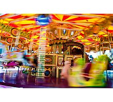 View of Carousel with horses on a carnival Merry Go Round Photographic Print