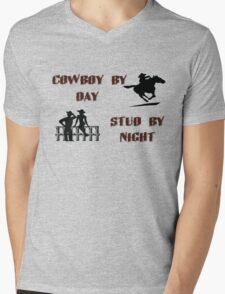 Cowboy By Day, Stud By Night Mens V-Neck T-Shirt