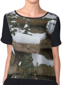 Snow covered wall in Austria Chiffon Top