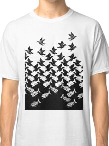 Art Deco Fish and Birds Tesselation Classic T-Shirt