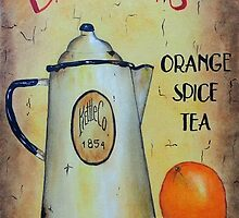 Orange Spice Tea Vintage Sign Art by Tami Dalton