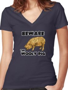 Beware the Wooly Pig Women's Fitted V-Neck T-Shirt
