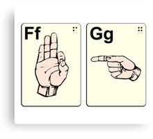 Dirty Sign Language Flash Cards Canvas Print