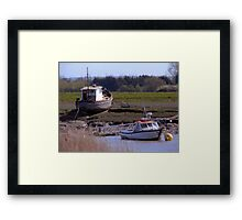 Boats, Burnham and Highbridge estuary. Framed Print