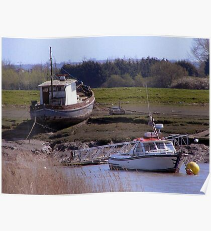 Boats, Burnham and Highbridge estuary. Poster