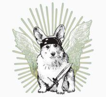 BAD dog – corgi carrying a knife Kids Tee