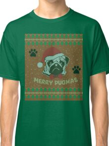 Merry Pugmas - Christmas Pug Knitted Shirt / Ugly Shirt Classic T-Shirt